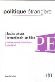 Politique Etrangere N°4/2015 Justice Penale  Hiver 2015