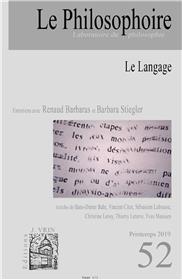 Le Philosophoire N°52 Le langage - automne 2019