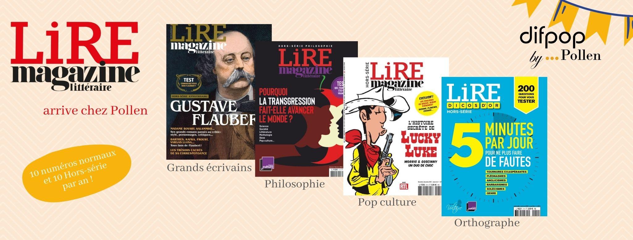 Lire Magazine Littéraire, fruit du rapprochement de deux rédactions qui partagent leur passion des livres et des écrivains depuis plus d'un demi-siècle,  décrypte chaque mois l'actualité littéraire : entretiens, critiques, vie des idées, reportages, extraits en avant-première…