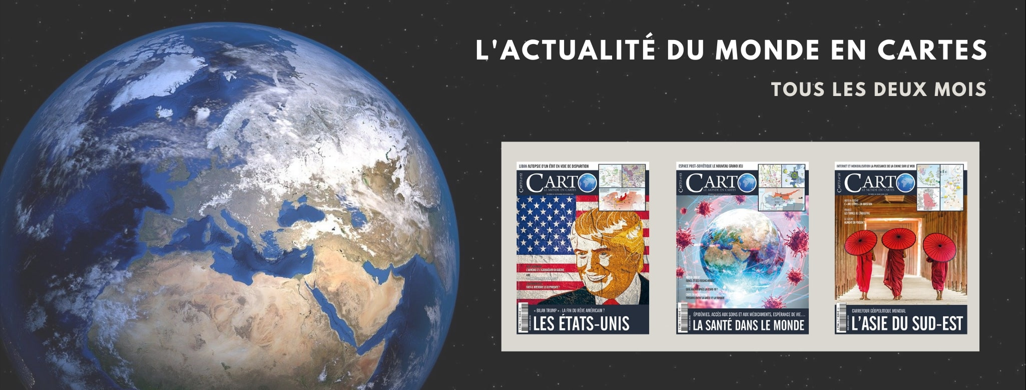 La revue Carto a l'ambition de lire et expliquer l'actualité internationale grâce aux cartes. Un défi énorme, mais passionnant, relevé tous les deux mois par la rédaction du magazine, dont deux cartographes et une quinzaine d'auteurs et d'analystes (géographes, historiens, politologues, etc.).