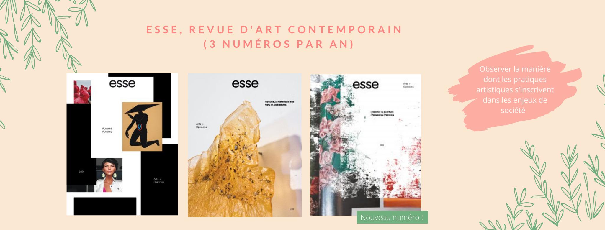Référence en art contemporain, la revue Esse propose des dossiers engagés qui observent de près les différents enjeux de société et la manière dont les pratiques artistiques s'y inscrivent.